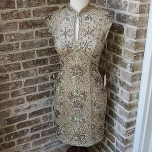 NWT! Sue Wong Gold Beaded Special Occasion Dress